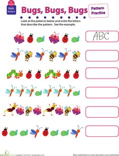 Worksheets: Practice Patterns: Bugs, Bugs, Bugs