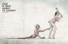 girls in undies vs zombies