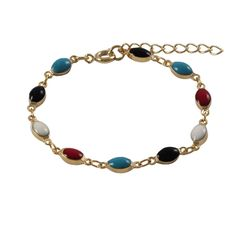Luxiro Gold Finish Children's Multi-color Enamel Oval Link Bracelet