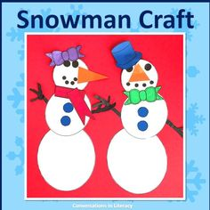 Cute Snowman Craft for fun January winter writing activities for your elementary classroom this winter! #elementary #guidedreading #Januarywriting #winterwriting #conversationsinliteracy #kindergarten #first grade #secondgrade #thirdgrade kindergarten, 1st grade, 2nd grade, 3rd grade