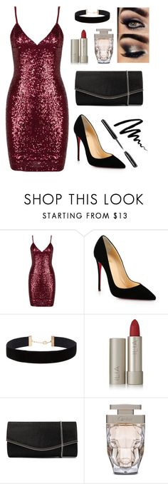 """""""Night on the Town"""" by madison-a-gilbert ❤ liked on Polyvore featuring Christian Louboutin, Eloquii, Ilia, Diana Ferrari, Cartier and Bobbi Brown Cosmetics"""
