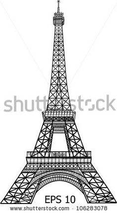 stock vector : Eiffel Tower in Paris vector illustration, EPS 10.