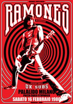 RAMONES  Uk Subs  16 February 1980  Milan Italy door tarlotoys, - very cool poster