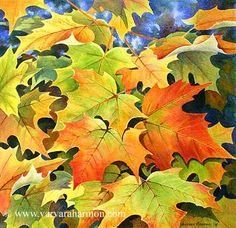 Autumn Leaves, Original Landscape watercolor painting by Varvara Harmon Watercolor Leaves, Watercolor Landscape, Floral Watercolor, Watercolor Paintings, Original Paintings, Leaf Paintings, Fruit Painting, Autumn Painting, Multimedia Artist