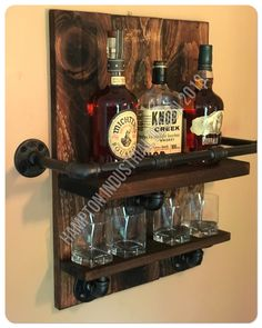 Special order Bourbon Whiskey Rack, Reclaimed Pallet Wood and Industrial Pipe, Bar, Shabby Chic, Farmhouse Decor Bourbon Whiskey, Whiskey Gifts, Whiskey Glasses, Whiskey Bottle, Shabby Chic Farmhouse, Farmhouse Decor, Whisky Regal, Pipe Railing, Whiskey Room
