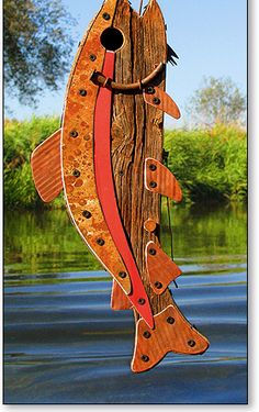 Trout bird house. For the lake going bird buddies.  This would look great in the tree over the pond.