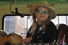 Nancy Apple on the Backbeat Bus.