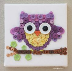 Cute Owl made with Buttons