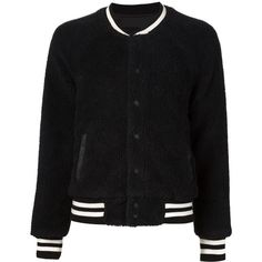 Mother 'Letterman' jacket ($420) ❤ liked on Polyvore featuring outerwear, jackets, black, letterman jackets, varsity bomber jacket, varsity jacket, black letterman jacket and varsity style jacket