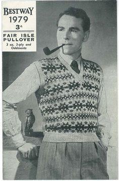 Free Vintage Knitting Pattern: Men's Fair Isle Pullover from (Bestway – Vintage Knitting Pattern Archive Vintage Knitting, Vintage Crochet, Free Knitting, Knitting Needles, Knitting Sweaters, Fair Isle Knitting Patterns, Fair Isle Pattern, Mode Masculine, Vintage Style