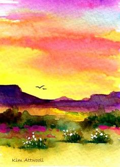 Mesa Sunset, watercolor by Kim Attwooll
