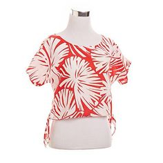 RED AND WHITE PALM LEAF TOP