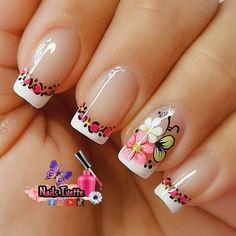 Acrylic Nail Tips, Cute Acrylic Nail Designs, Cute Acrylic Nails, Nail Art Designs, Cute Nail Art, Cute Nails, Cute Spring Nails, Flower Nail Art, Creative Nails