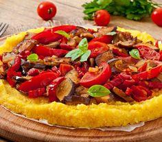 Polenta Vegetables Corn Grits Pizza Tomato Stock Photo (Edit Now) 218767393 Polenta Pizza, Corn Grits, Tortellini, Ravioli, Gnocchi, Vegetable Pizza, Risotto, Vegetables, Food