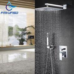 Modern Square Chrome Rain Shower Head Faucet W/ Hand Shower Sprayer Mixer Bathroom Shower Faucets, Shower Faucet Sets, Shower Set, Rain Shower, Bathroom Fixtures, Mixer, Rainfall Shower, Sprinkler, Shower Heads