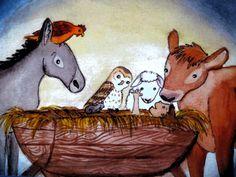 Christmas Card-Nativity Scene with Animals by EmmysAnimals on Etsy