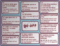 Phrasal verb 'go off'.