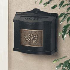 Black Wall Mount Mailbox with Antique Bronze Leaf Emblem