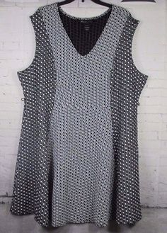 Lane Bryant Sweater Dress 26/28 Black/White Geometric Sleeveless Fit & Flare #LANEBRYANT #FitFlareDressSweaterDress #AnyOccasion