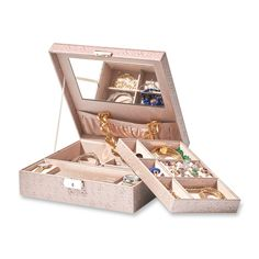 """Make your jewelry storage a part of your décor with our chic vegan leather jewelry box, shown in the color """"Wheat"""". Item no. 523394"""