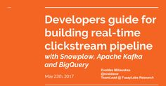 Developers guide for building real-time clickstream pipeline with Snowplow, Apache Kafka and BigQuery May 23th, 2017 Evaldas Miliauskas @evaldasw TeamLead @ FuzzyLabs Research