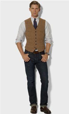 Mayfield Tweed Vest - Polo Ralph Lauren Body Warmers & Down Jackets - Ralph Lauren UK Khaki Vest, Tweed Vest, Blue Vests, Navy Vest, Western Outfits, Look Fashion, Mens Fashion, Men's Waistcoat, Herringbone Vest