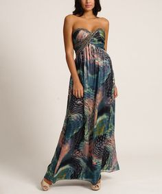 Look what I found on #zulily! Navy & Blush Abstract Strapless Maxi Dress by Little Mistress #zulilyfinds