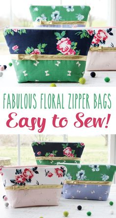 Fabulous Floral Zipper Bags - So Easy to Sew!! Christmas gift idea #sewingbags