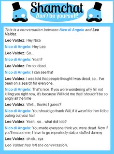 A conversation between Leo Valdez and Nico di Angelo