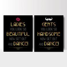 Art Deco Wedding bathroom signs womens and mens restroom