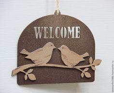"""Купить Таблички """"welcome"""" - коричневый, табличка на дверь, птички, оранжевый цвет, добро подаловать"""