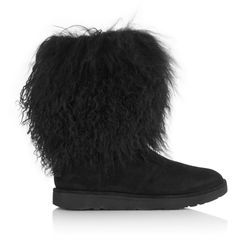 Ugg Lida Fluff Momma Treadlite Boot- Black ($395) ❤ liked on Polyvore featuring shoes, boots, black, mid-calf boots, black shoes, calf length boots, kohl boots, ugg boots and ugg shoes