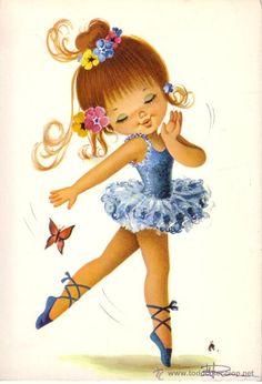BONITA POSTAL CON DIBUJOS DE UNA BAILARINA (Postales - Niños) Vintage Pictures, Vintage Images, Vintage Art, Cute Pictures, Baby Painting, Fabric Painting, Ballerina Art, Sarah Kay, Partys