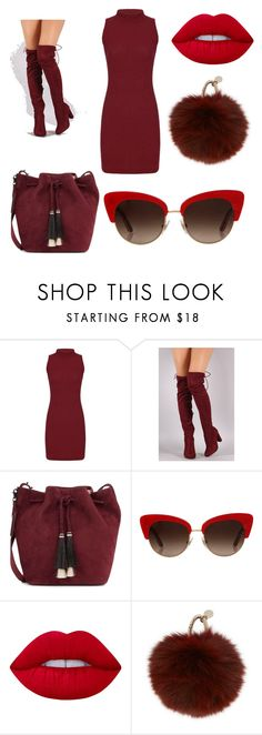 """#Red"" by nahiaraclimentoliver ❤ liked on Polyvore featuring Loeffler Randall, Dolce&Gabbana, Lime Crime and Yves Salomon"