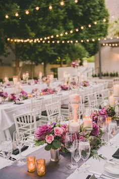 purple and white reception, photo by Dave Richards http://ruffledblog.com/elegant-palm-springs-wedding #reception #purple #wedding