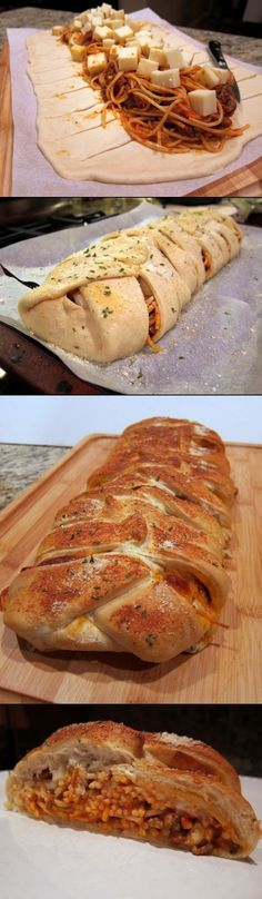 A cheesy stuffed bread recipe filled with spaghetti and meatballs -- great for the whole family..