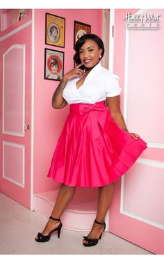 Audrey Skirt in Pink - Plus Size he Audrey skirt from Pinup Couture is a shorter-length skirt for the flirt in all of us! Full and gathered in a flirty shorter length, it's dressed up with a full bow on a faux sash at the waist. Made of a vibrant pink cotton sateen with a side zipper. - See more at: http://www.pinupgirlclothing.com/audrey-skirt-pink-plus.html#sthash.0wwKl6bX.dpuf