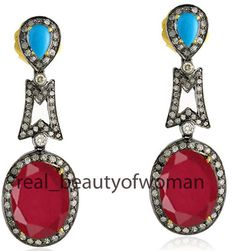 Edwardian Handmade 3.34cts Pave Rose Cut Diamond Turquoise Ruby Earrings Dangler…