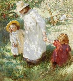 """1909 ~ """"In the Orchard"""" . Oil on Canvas by Dame Laura Knight DBE RA RWS English Impressionist Artist who worked in Oils, Watercolours, Etching, Engraving & Drypoint . English Artists, Beautiful Paintings, Classic Paintings, Art Paintings, Mother And Child, Oeuvre D'art, Love Art, Female Art, Camille Pissarro"""