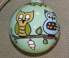 painted owl christmas ornament