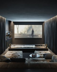 Home Theater Design is one of the most thing nowadays. We always looking for Home Theater ideas. Home Teater room design is the best choice. Home Theater Room Design, Home Theater Decor, Home Theater Rooms, Home Interior Design, Home Decor, At Home Movie Theater, Luxury Movie Theater, Home Theater Basement, Basement Movie Room