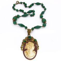 Vintage Art Deco Czech Green Glass Ornate Filigree Cameo Portrait Necklace | Clarice Jewellery | Vintage Costume Jewellery