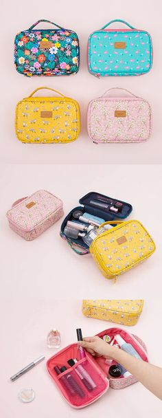 If you have many cosmetics and have trouble carrying them at once, this cute and functional pouch is the one you are looking for! The Lage Ardium Cosmetic Pouch features a spacious compartment that can hold all your items, plus a handle outside to help you carry it more conveniently! This versatile pouch can also be used to carry many other items too!