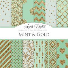 Gold and Mint Digital Paper. Scrapbooking por AvenieDigital en Etsy
