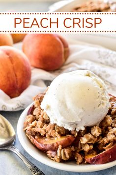 Nothing says summer like fresh peaches, and this Peach Crisp is the BEST. Made with sweet ripe peaches and the most delicious brown sugar topping, it's the ultimate summer dessert... and couldn't be easier to make! Easy No Bake Desserts, Best Dessert Recipes, Summer Desserts, Easy Desserts, Sweet Recipes, Delicious Desserts, Yummy Food, Keto Desserts, Recipes Dinner