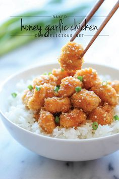 Baked Honey Garlic Chicken - July 2014 by Chungah on Damn Delicious®! It's healthier, cheaper and so much tastier! Baked Honey Garlic Chicken, Baked Chicken, Chicken Recipes, Honey Baked, Garlic Recipes, Ginger Chicken, Sesame Chicken, Chicken Bites, Crispy Chicken