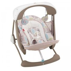 The Deluxe Take-Along Swing and Seat is a compact swing for babies with vibration, melodies, and nature sounds.