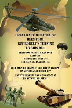 army party invitations | Army Camo Camouflage Armed Forces Tank Birthday Party Invitation Favor ...
