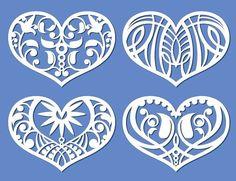 Lacy hearts, cutout love symbols. Pattern Vectors