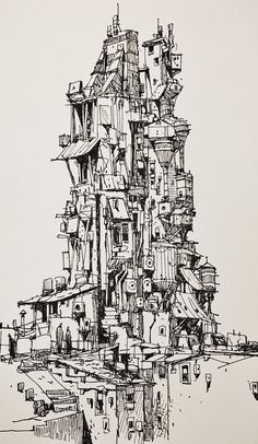 Ian McQue Sketches Collection – Art Drawing Tips Illustration Sketches, Art Sketches, Ink Pen Drawings, Environment Concept Art, Urban Sketching, Pen Art, Art Sketchbook, Art Inspo, Art Reference